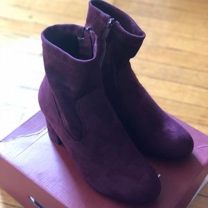 Worn once! Faux Suede burgundy color booties